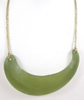 NEW DESIGNER Gold Plated Chain Green Lucite Bib Necklace PAULA ABDUL