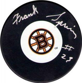 Frank Spring Autographed Boston Bruins Hockey Puck NHL