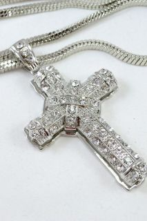 3D Silver Finish Iced Out Holy Cross Pendant Long Franco Chain 36SL