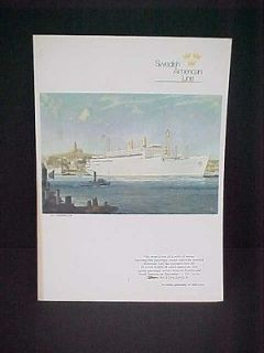 MS KUNGSHOLM Swedish American Cruise Ship Line Dinner MENU MS