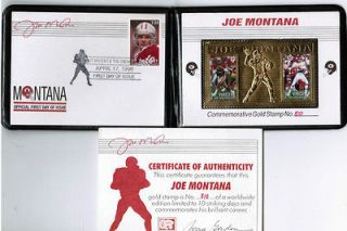 JOE MONTANA Commemorative GOLD STAMP First Day Issue 4/17/1996 Cheifs