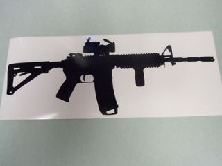 M16 AR 15 9 long Decal Sticker Black Die cut