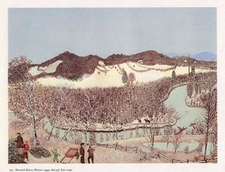 GRANDMA MOSES hunting print HOOSICK RIVER IN WINTER