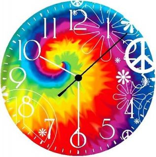 Newly listed TIE DYE PEACE SIGN Wall Clock * GLOW IN THE DARK * New