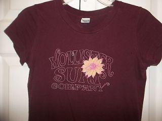 Hollister Womans Jr Girls Red Burgundy Cotton Cap Sleeve T Shirt Size