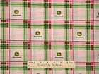 John Deere Pink Green Girl Ladies Deer Logo Plaid CP41783 Cotton