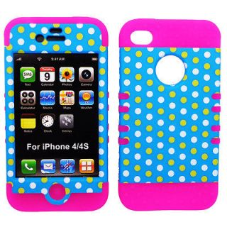 Hybrid Hard Cover For Apple iPhone 4 4S 4GS Polka Dots on Blue & Pink