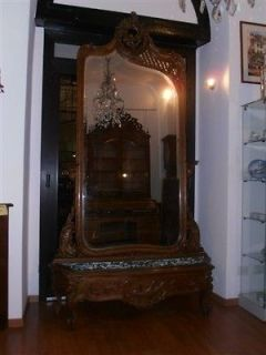 GREAT CARVED ITALIAN ANTIQUE ESTATE FRESH CARVED HALL MIRROR 12IT053