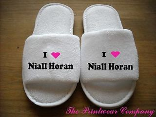 LOVE NIALL HORAN ONE DIRECTION WHITE LADIES SLIPPERS ONE SIZE FITS 4