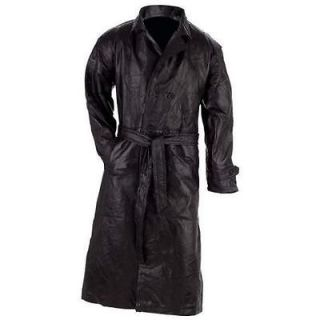 men s black leather full length trenchcoat w belt new
