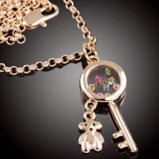 N787 rose gold GP long Chain swarovski crystal key bear Necklace