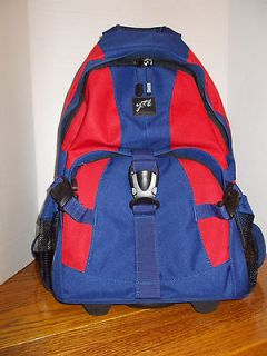ROLLING BLUE/RED BACKPACK TRAVEL BAG WITH TELESCOPIC HANDLE