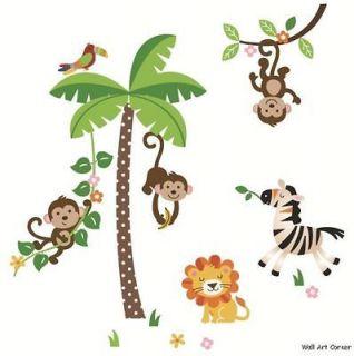 & Stick Removable Nursery Wall Decal Jungle Monkeys, Palm Tree, Lion