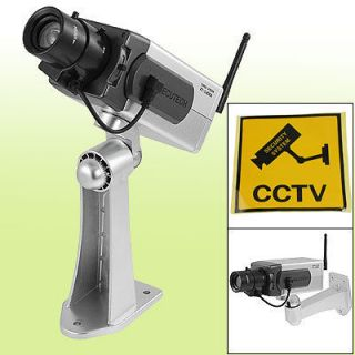 Ceiling Wall Battery Operated Fake Security Camera Black Silver Tone