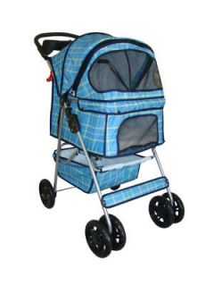 Blue Grid 4 Wheels Pet Dog Cat Stroller w/RainCover