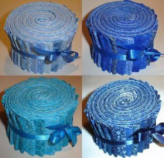 Navy, Medium and Light Blue Fabric Jelly Rolls Jelly Roll Fabric Co