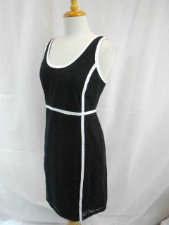 Michael Kors Black & White Piped Sheath Tailor Pipping Zipper Fitted