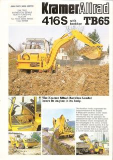 Equipment Brochure   Kramer Allrad   416S   TB65   Backhoe Loader
