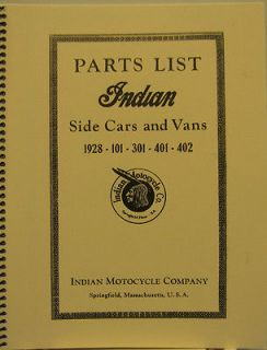 1928 Indian Motorcycle Parts List Side Cars & Vans 1928 101 301 401 40