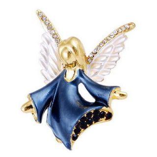 Angel Girl Brooch Pin 46*42MM 6Colors Golden Enamel Czech Rhinestone