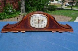 Antique Retro Ingraham Walnut Deco Style Shelf Mantle Clock Electric