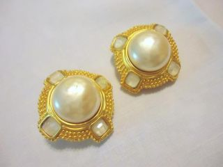 Vintage Signed KL Karl Lagerfeld Pearl Mother of Pearl Chip Heavy Gilt