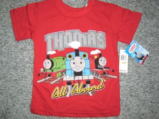 Boys Girls Thomas the Train Percy James Red Short Sleeve Shirt All