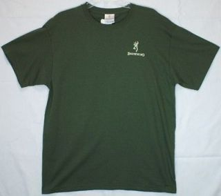 Browning T Shirt Buckmark Deer Logo Hunting Rifle Gun Military Green