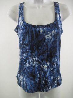 ISABEL DE PEDRO Blue Sleeveless Printed Shirt Top Sz 6