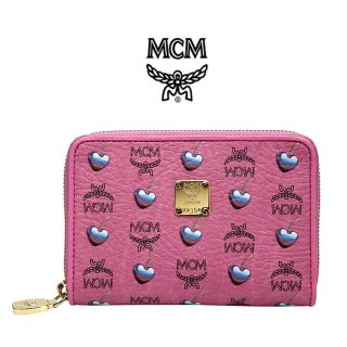 NEW MCM Sweet Visetos Leather Pink Half Wallet Purse Genuine For Woman