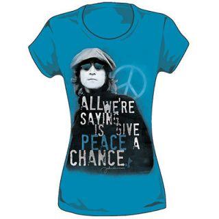 New John Lennon The Beatles Give Peace A Chance Women Ladies Jr. Tee
