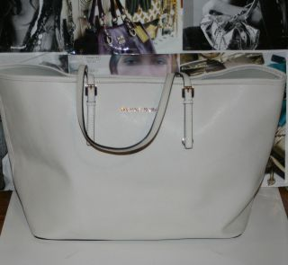MICHAEL Michael Kors Jet Set Vanilla Saffiano Large Travel Tote Bag $