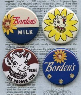 RETRO ELSIE THE COW BORDENS VINTAGE STYLE 1.5 buttons pins badges
