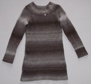Justice Super Soft Brown Tan Sequined Sweater Dress L/S Tunic 14