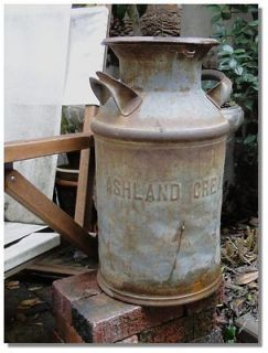 Detroit Ashland Creamery DAIRY MILK CAN antique old vintage tin rusty