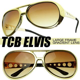 Large Elvis King of Rock Rock & Roll TCB Aviator Sunglasses(Gold)