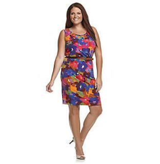 CALVIN KLEIN Mulberry Multi Color Belted Jersey Knit Dress, 20W *NWT $