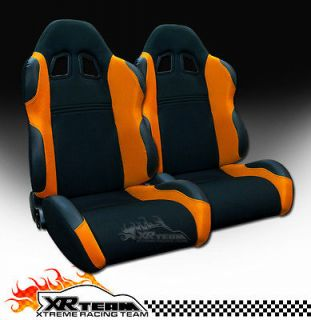 2pc LH+RH JDM Black/Orange Fabric & PVC Leather Racing Bucket Seats