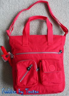 nwt kipling joslyn shoulder bag tote bag neon red