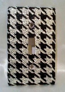 CLEAR & BLACK RHINESTONE HOUNDSTOOTH DESIGN LIGHT SWITCH COVER