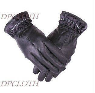 Lady Leather Winter Warm Gloves Special Brim High Quality Classic