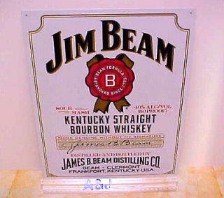 JIM BEAM, KENTUCKY BOURBON, WHITE LABEL METAL SIGN
