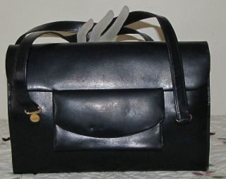 LOVELY VINTAGE NAVY BLUE KELLY BAG MADE IN ITALY EXPRESSLY FOR NEIMAN