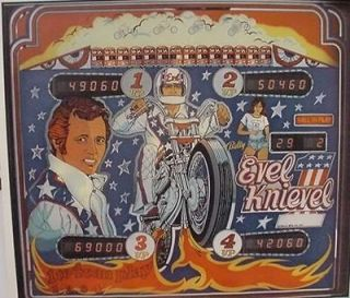 evel knievel 1976 pinball promo poster from canada time left