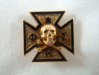 Antique 1913 Phi Kappa Sigma Fraternity Skull And Bones Pin 14K Black