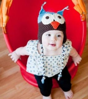 Owl Pattern Baby Toddler Infant Knit Crochet Beanie Long braids Hat