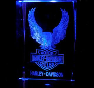 LASER CRYSTAL Harley Davidson Motorcycle Logo Eagle + Light Base