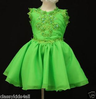 Girl Baby National Glitz Pageant Short Dress 1 2 3 4 5 6 7 Green