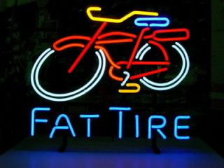 NEW FAT TIRE BEER BICYCLE REAL NEON LIGHT BAR PUB SIGN