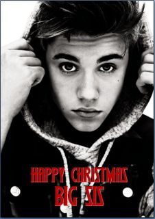justin bieber personalised christmas birthday card a5